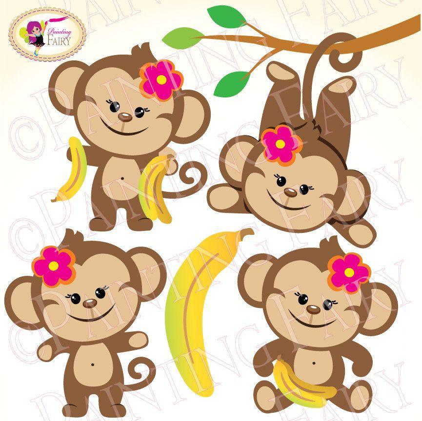 865x864 Clipart Cute Girl Monkeys With Bananas Zoo Safari Clip Art Sweet
