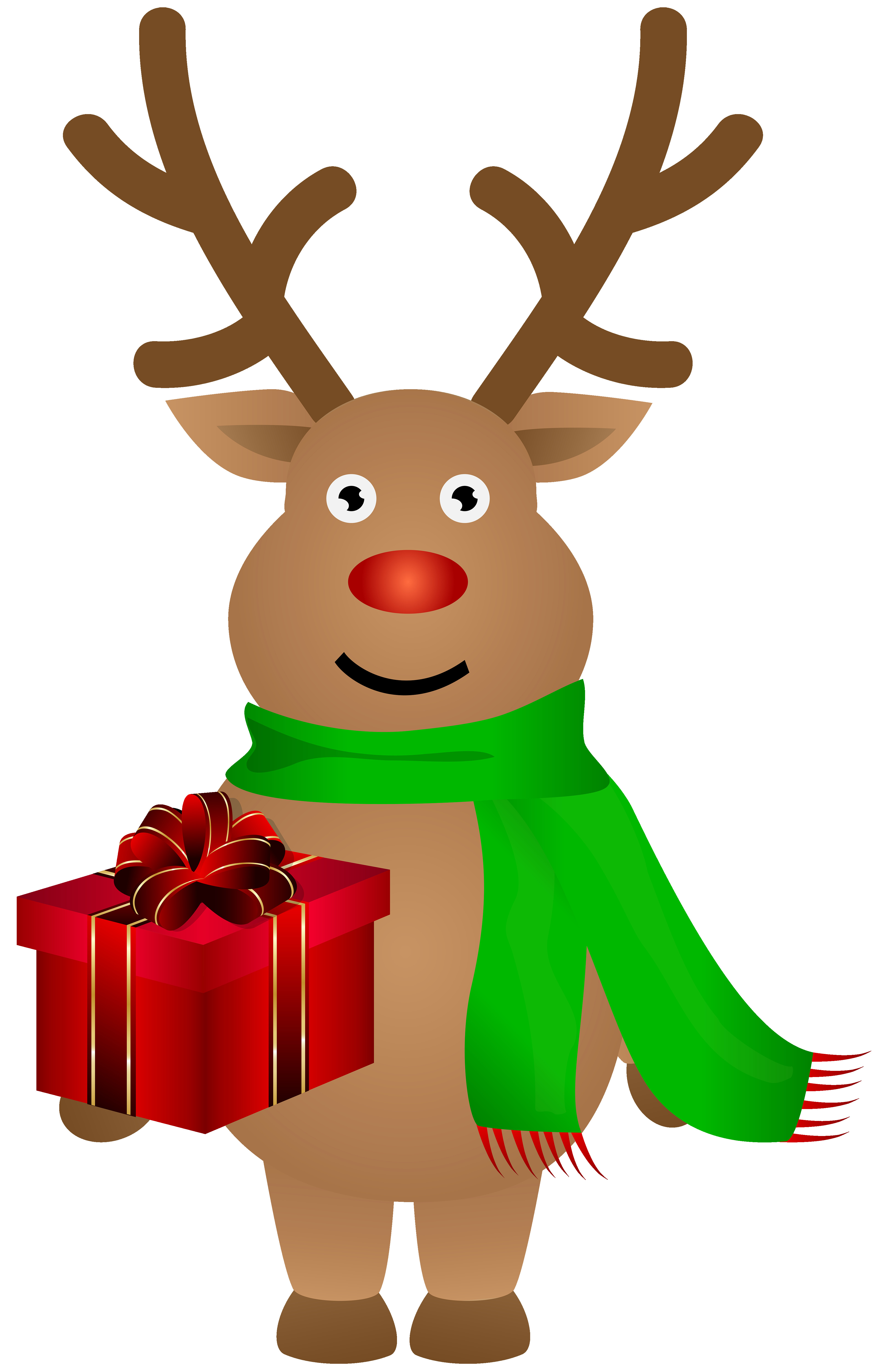 3881x6000 Christmas Reindeer With Red Ribbon Free Clip Art Incredible