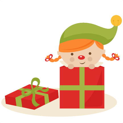 432x432 Girl Elf In Present Svg Cutting Files Christmas Svg Cuts Free Svgs