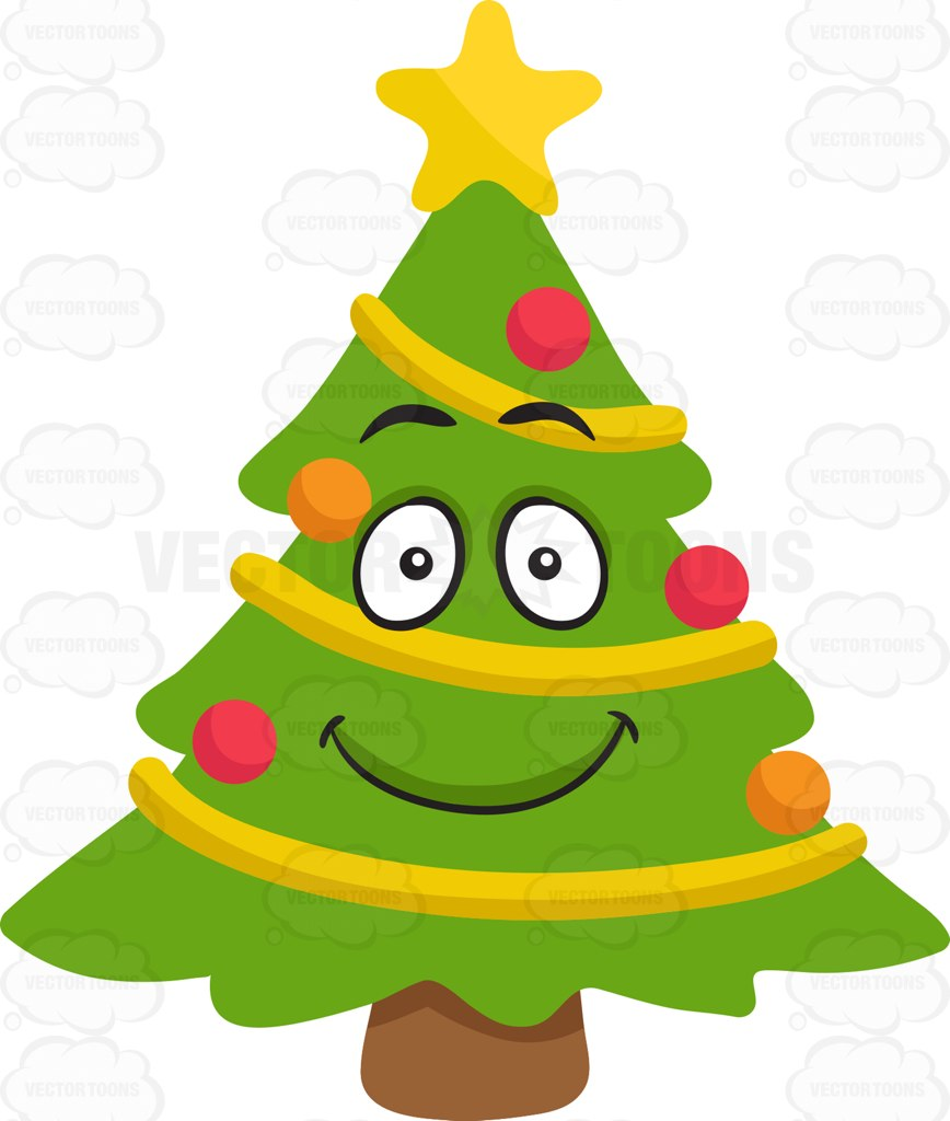 868x1024 A Smiling Christmas Tree Cartoon Clipart Vector Toons