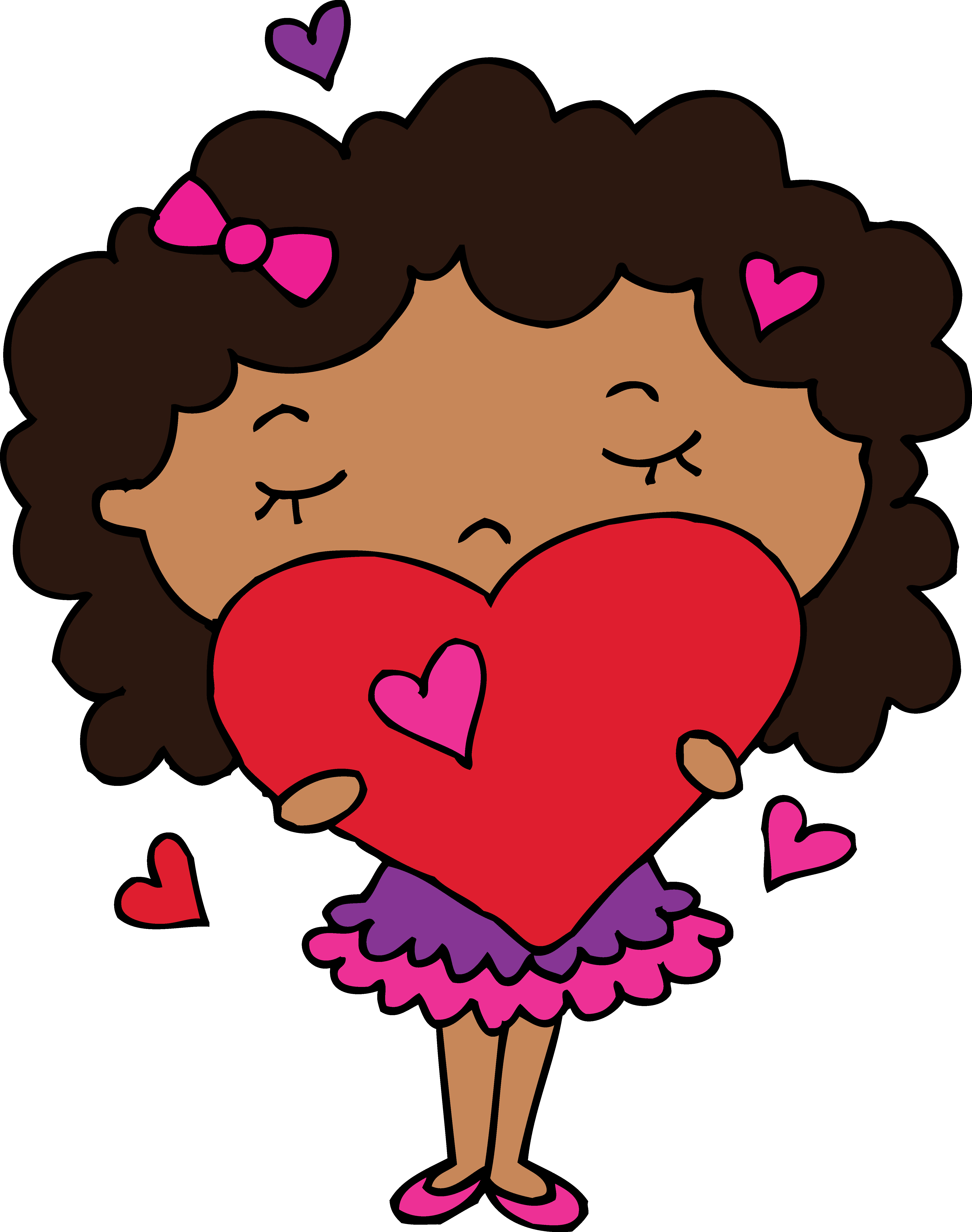 4929x6244 Cute Clipart Of Girl Holding A Heart