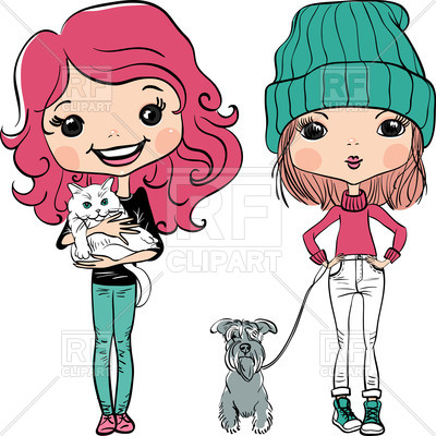 400x400 Cute Girls With Dog And Cat Royalty Free Vector Clip Art Image