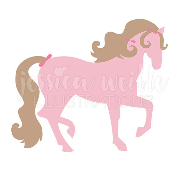 570x570 Pretty Pink Pony Cute Digital Clipart Girls Pink Horse Clip