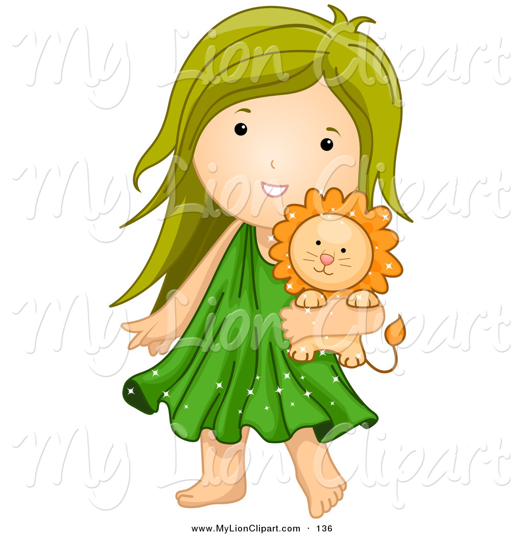 1024x1044 Clipart Of An Astrological Cute Leo Girl Carrying A Stuffed Lion