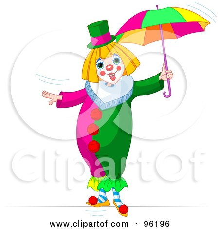 450x470 Clipart Of A Cute Red Haired Clown With Party Balloons