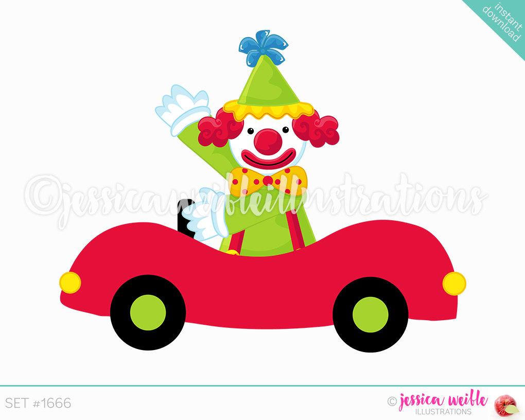 1020x816 Clown Car Cute Digital Clipart, Cute Clown Clip Art, Circus