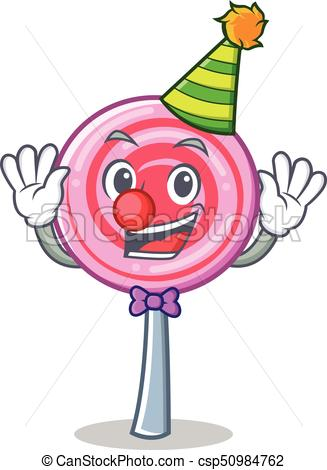 327x470 Clown Cute Lollipop Character Cartoon Vector Illustration Clip Art