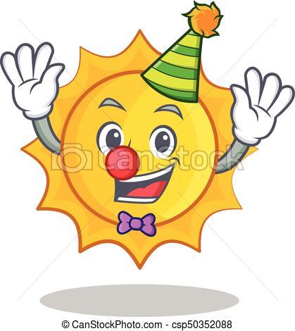 419x470 Clown Cute Sun Character Cartoon Vector Illustration Vector