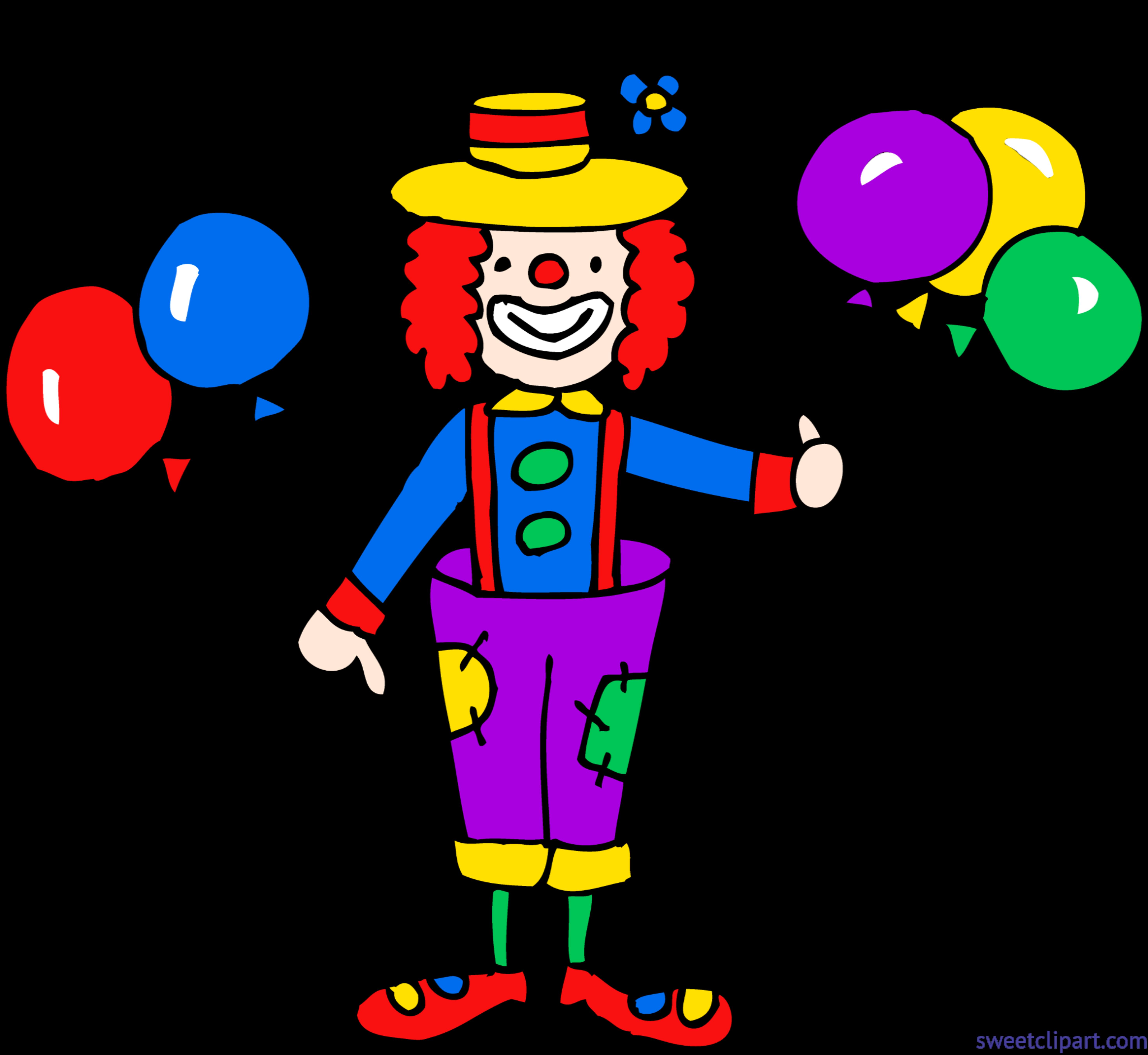 5891x5418 Cute Clown With Balloons Clip Art