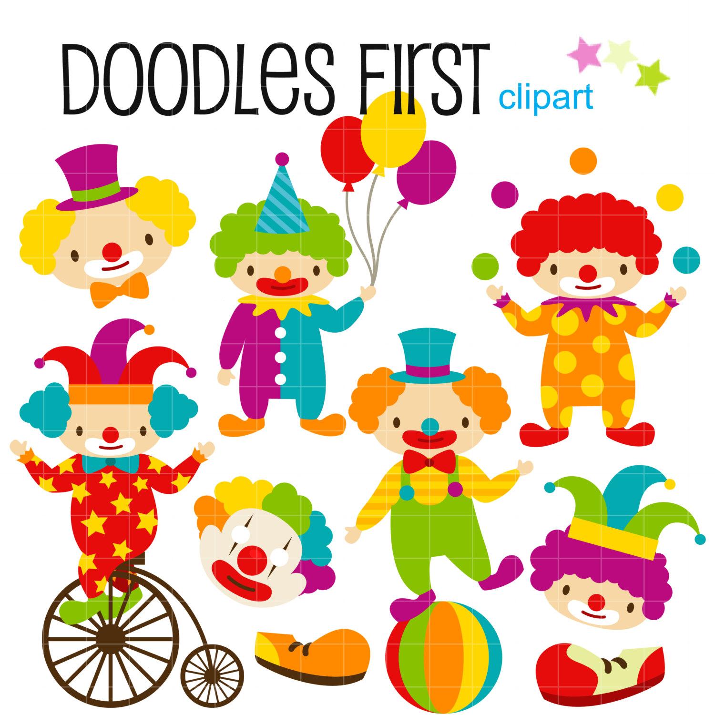 1500x1500 Cute Clowns Digital Clip Art For Scrapbooking Card Making