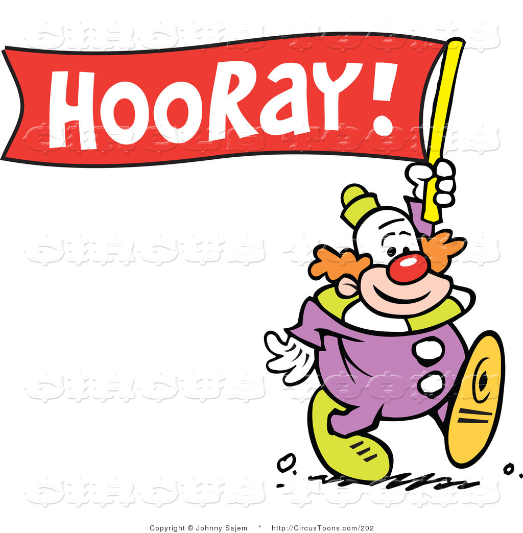 1024x1044 Circus Clipart Of A Cute Clown Carrying A Hooray Banner By Johnny