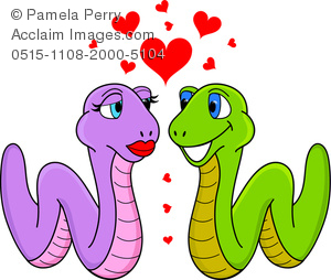 300x254 Clip Art Image Of A Cartoon Of A Worm Couple In Love