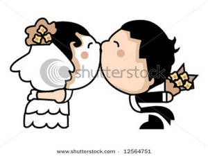 300x225 Clipart Image Cute Wedding Couple Kissing