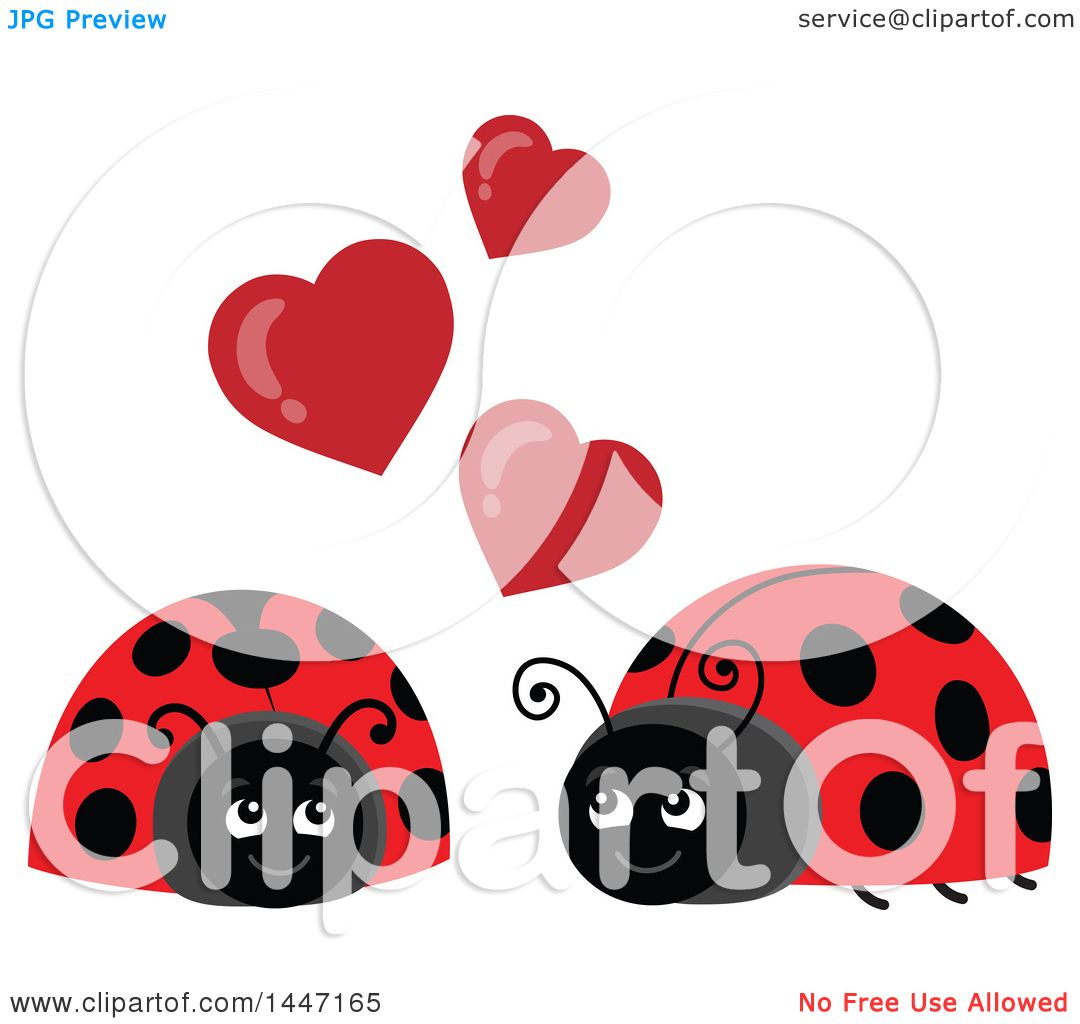1080x1024 Clipart Of A Cute Ladybug Couple Under Valentine Love Hearts