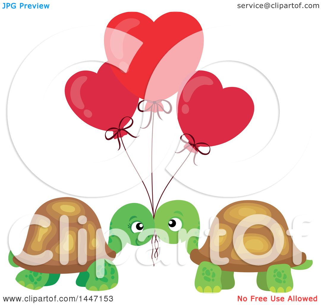 1080x1024 Clipart Of A Cute Turtle Valentine Couple Under Heart Balloons