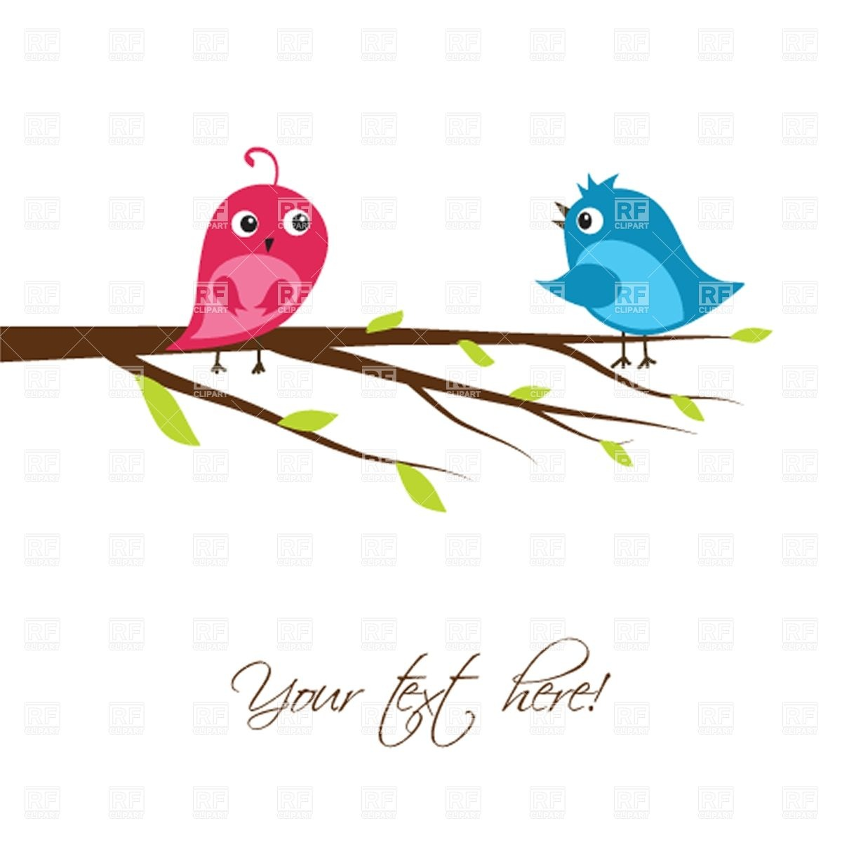 1200x1200 Couple Of Cute Birds On The Tree Branch Vector Image Vector