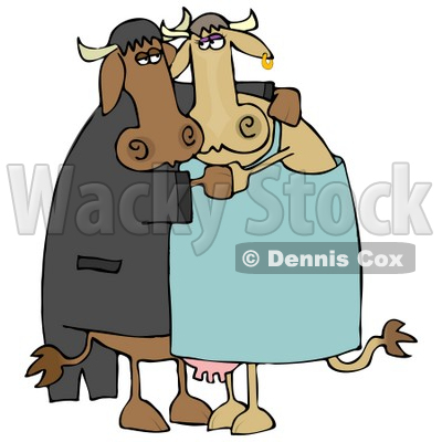 400x400 Cute Loving Cow Couple Dancing Together Clipart Illustration