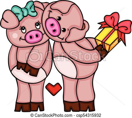 450x402 Scalable Vectorial Representing A Cute Couple Of Pigs