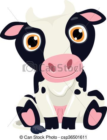 360x470 Cute Cow Cartoon. Vector Illustration Of Cow Cartoon Vector Clip