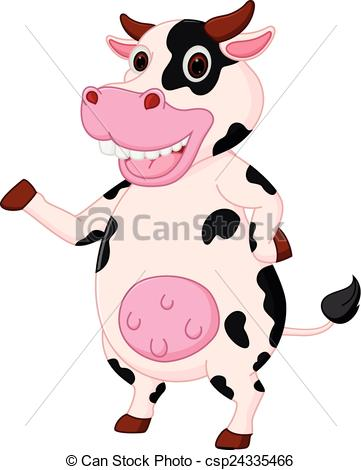 361x470 Vector Illustration Of Cute Cow Cartoon Waving Hand Clip Art