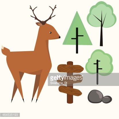 414x414 Cute Deer And Small Forest Set Premium Clipart