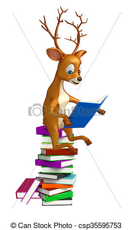 273x470 Cute Deer Cartoon Character With Book Stack. 3d Rendered
