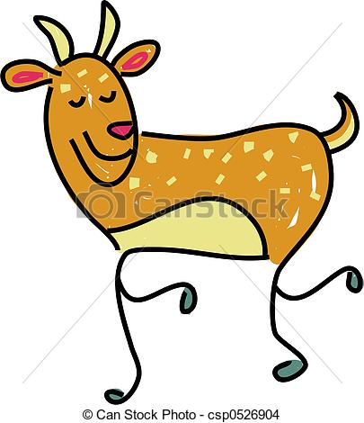 405x470 A Cute Deer Isolated On White Drawn In Toddler Art Style Drawing