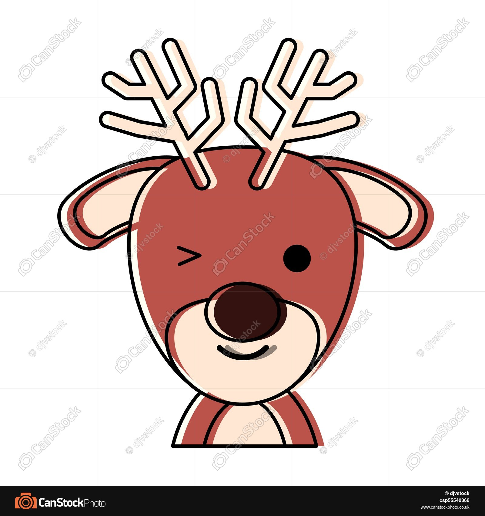 1600x1700 Cute Deer Icon Over White Background, Colorful Design . Clip Art