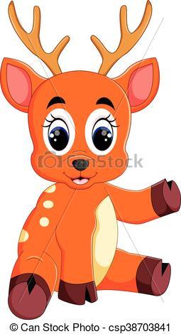 255x470 Illustration Of Cute Deer Cartoon Eps Vector