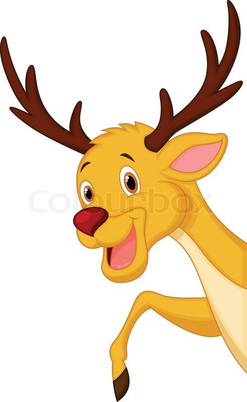 492x800 Vector Illustration Of Cute Deer Head Cartoon Stock Vector