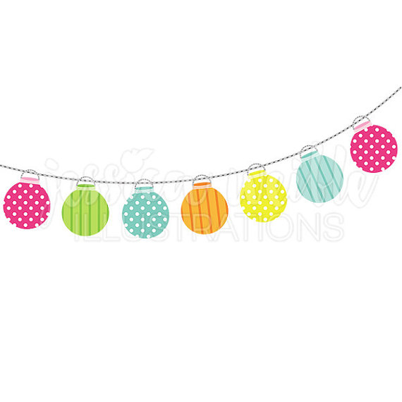 570x570 String Of Party Lanterns Cute Digital Clipart, Party Lights Clip