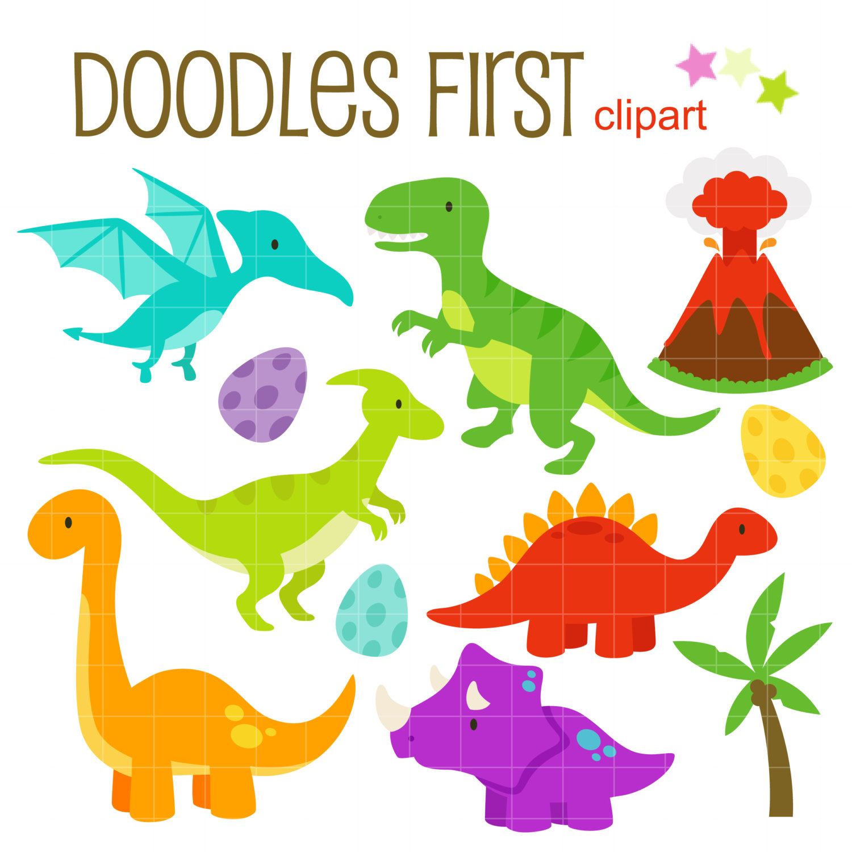1500x1500 Cute Dinosaurs Digital Clip Art For Scrapbooking Card Making
