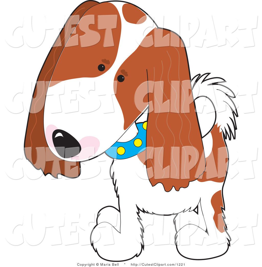 1024x1044 Vector Clip Art Of A Cute Brown And White Cavalier King Charles