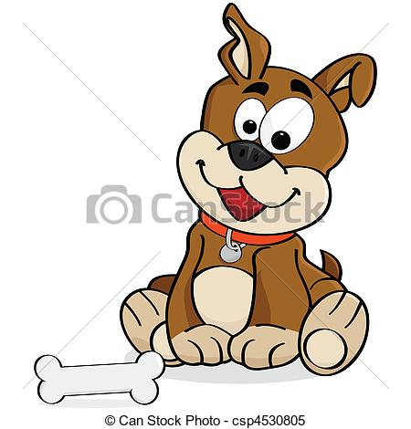 450x470 Cartoon Illustration A Cute Dog Sitting Down In Front