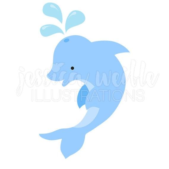 570x570 Blue Dolphin Cute Digital Clipart, Dolphin Clip Art, Cute Dolphin