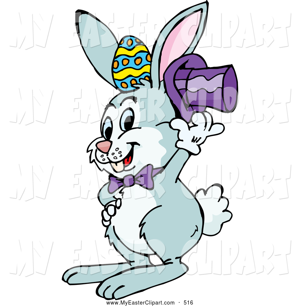1024x1044 Clip Art Of A Cute Bunny Lifting His Hat To Display An Easter Egg