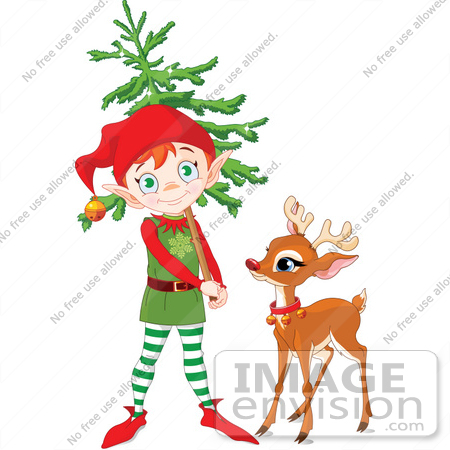 450x450 Clip Art Illustration Of A Cute Elf Carrying A Xmas Tree