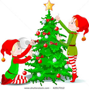 297x300 Clip Art Image Two Cute Elves Decorating A Christmas Tree