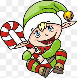 260x265 Cartoon Christmas Elf Dwarf Shape Frame, Hand Painted Cartoon