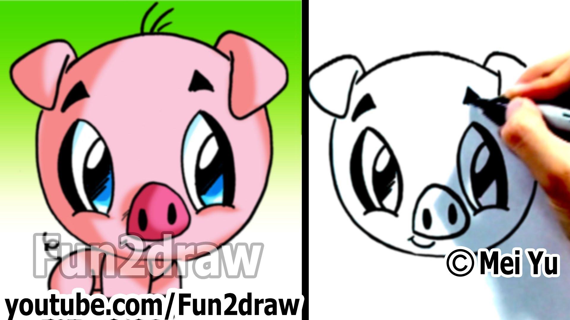 1920x1080 How To Draw A Cartoon Pig Under 2 Min