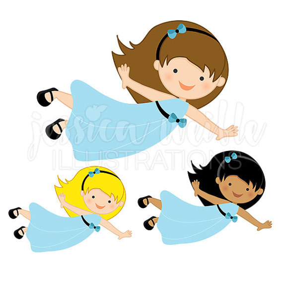 570x570 Flying Girl In Blue Dress Cute Digital Clipart, Cute Flying Girl