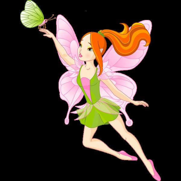 600x600 Golden Fairies Cartoon Clip Art