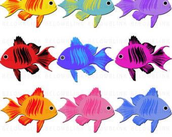 340x270 Fish Clipart, Instant Download, Barramundi Clip Art, Mahi Mahi