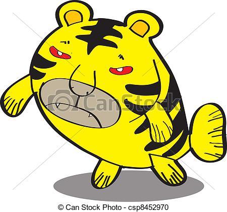 450x420 Tiger Fish. Cute Fish Cartoon, Line Art, Coloring Vector Clipart