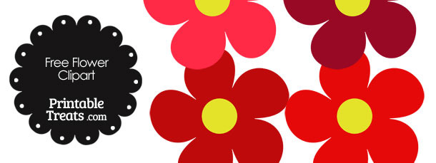 610x229 Cute Flower Clipart In Shades Of Red Printable