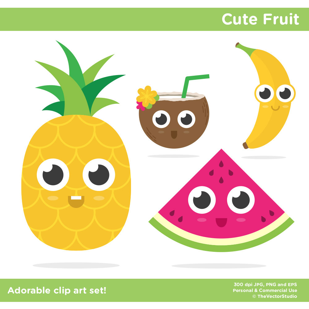 1000x1000 Food Clip Art, Kawaii Fruit Clip Art, Food Clipart, Pineapple Clip