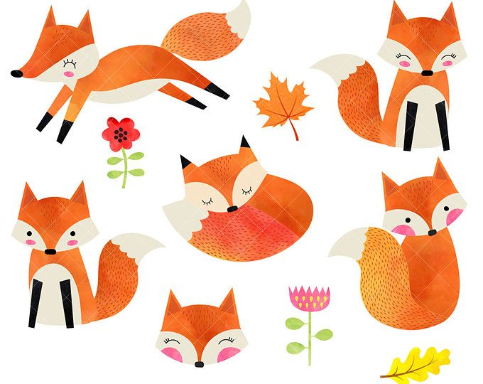 680x540 Watercolor Fox Clipart Cute Foxes Clipart Watercolor Woodland