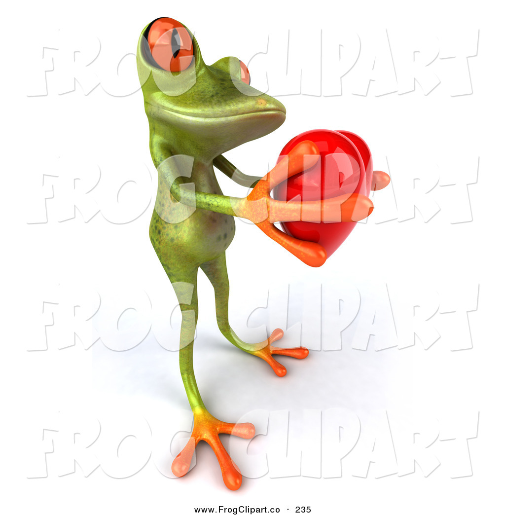 1024x1044 Clip Art Of A Cute Green Tree Frog Giving A Red Heart To His