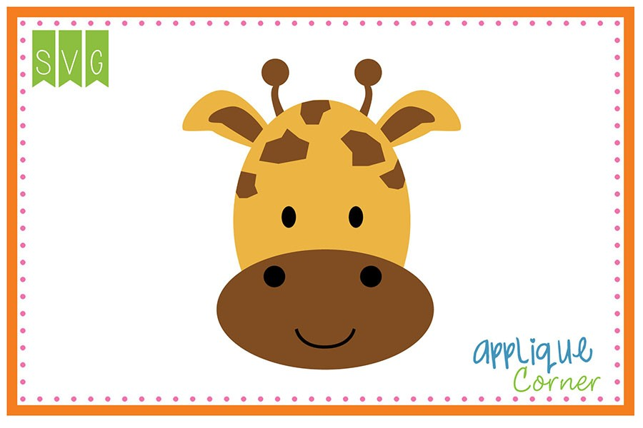 900x600 Applique Corner Cute Giraffe Head Cuttable Svg Clipart