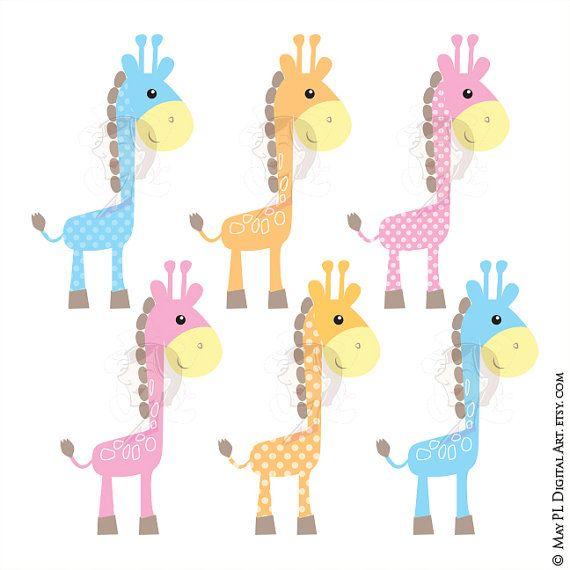 570x570 Cute Giraffe Clipart Baby Giraffe Animals Digital Clip Art Baby